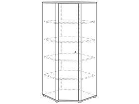 Шкафы бельевой угловой (1 дверца, 4 полки)