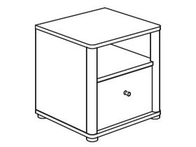 Тубочка прикроватная (1 открытая полка, 1 ящик)