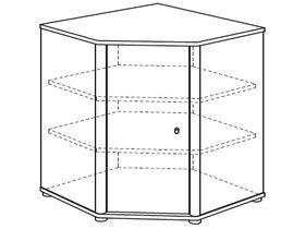Комод угловой (1 дверца лева, 2 полки)
