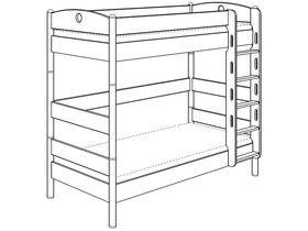 Детская двухъярусная кровать (с лестницей прямой с отверстиями) из массива берёзы