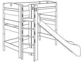 Кровать высокая игровая (с башней и горкой)