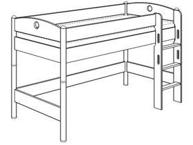 Детская игровая кровать (с лестницей прямой с отверстиями) из массива берёзы