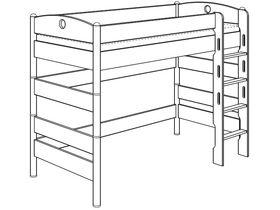 Детская игровая кровать (с лестницей прямой с отверстиями ) из массива берёзы