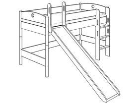 Детская игровая кровать (с лестницей прямой и горкой) из массива берёзы