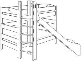 Детская двухъярусная кровать (с башней и горкой) из массива берёзы