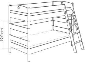 Детская двухъярусная кровать (с лестницей наклонной с отверстиями) из массива берёзы
