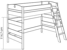 Детская игровая кровать (с лестницей наклонной с отверстиями) из массива берёзы