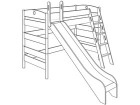 Детская игровая кровать (с горкой, с лестницей наклонной с отверстиями) из массива берёзы