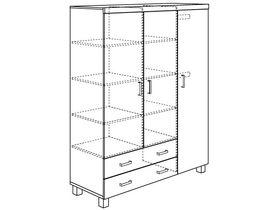 Шкаф 3-дверный с 2 ящиками