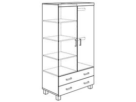 Шкаф 2-дверный с 2 ящиками