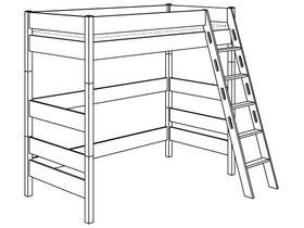 Игровая кровать с лестницей наклонной с отверстиями высотой 183 см