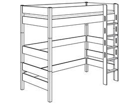 Игровая кровать с лестницей прямой с отверстиями высотой 183 см