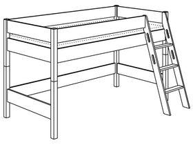 Игровая кровать с лестницей наклонной с отверстиями высотой 125 см