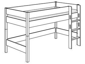 Игровая кровать с лестницей прямой с отверстиями высотой 125 см