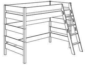 Игровая кровать с лестницей наклонной с отверстиями высотой 155 см