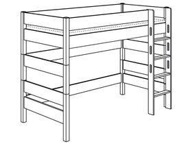 Игровая кровать с лестницей прямой с отверстиями высотой 155 см