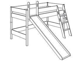 Игровая кровать с горкой с лестницей наклонной высотой 125 см