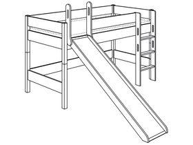 Игровая кровать с горкой с лестницей прямой высотой 125 см