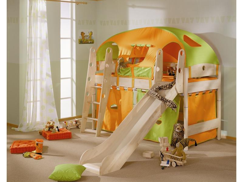 Детская игровая кровать с горкой и наклонной лестницей Fleximo из массива берёзы