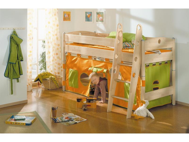 Детская игровая кровать Fleximo высотой 125 см из массива берёзы