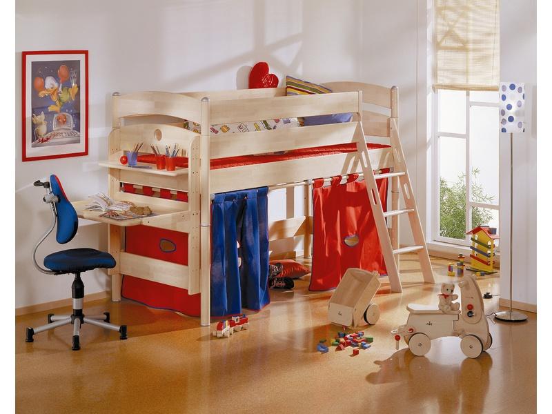 Детская игровая кровать с наклонной лестницей Fleximo высотой 125 см из массива берёзы