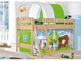 Детская игровая кровать с наклонной лестницей Fleximo из массива берёзы