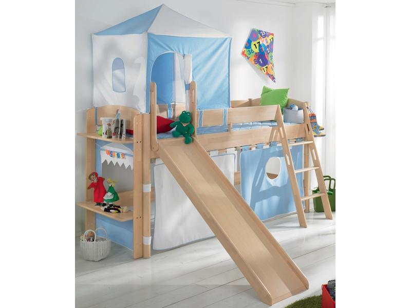 Детская игровая кровать с горкой Fleximo высотой 125 см из массива берёзы