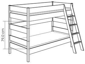 Детская двухъярусная кровать с наклонной лестницей H=155 из массива сосны