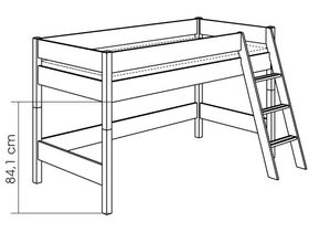 Детская игровая кровать с наклонной лестницей H=125 из массива сосны