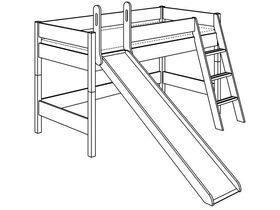 Детская игровая кровать с наклонной лестницей и горкой  H=125 из массива сосны