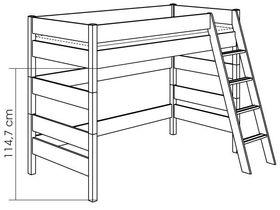 Детская игровая кровать с наклонной лестницей H=155 из массива сосны