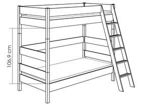 Детская двухъярусная кровать с наклонной лестницей H=183 из массива сосны