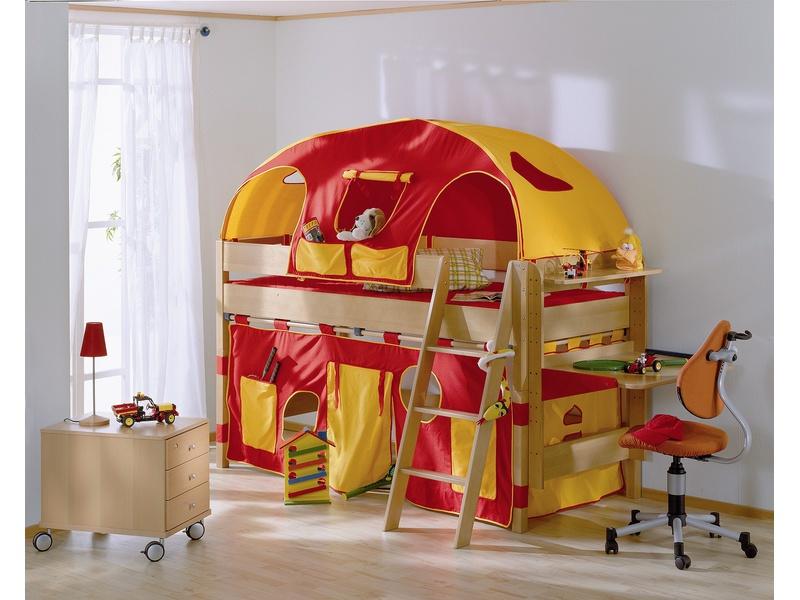 Детская игровая кровать с наклонной лестницей Varietta высотой 125см из массива бука
