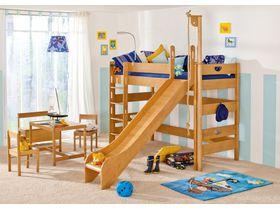 Детская игровая кровать с горкой и прямой лестницей Varietta из массива бука