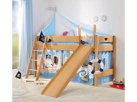 Детская игровая кровать с горкой Varietta высотой 125см из массива бука