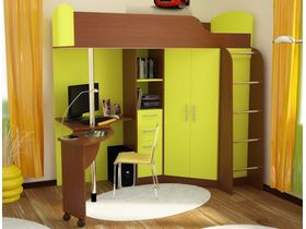 Кровать чердак со шкафом и рабочей зоной