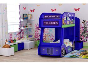 """Автобус кровать двухъярусная """"Мадагаскар Стандарт"""" в голубом цвете"""