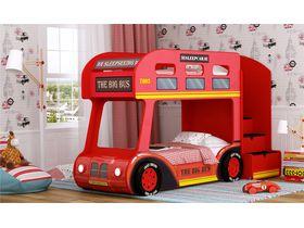 """Двухъярусная кровать автобус с объемным пластиковым бампером и колесами """"Лондонский автобус"""" под матрас 170*70"""