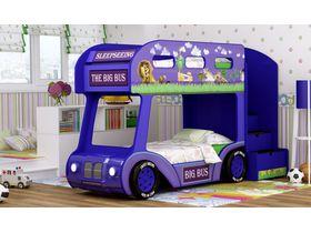 """Двухъярусная кровать автобус в синем цвете с объемным бампером """"Мадагаскар Люкс"""""""