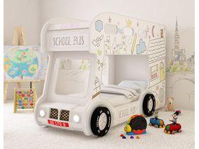 """Двухъярусная кровать автобус в белом цвете """"Город"""""""