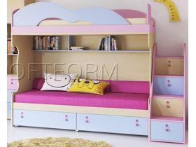 """Детская двухъярусная кровать """"Миа"""" с яркими цветными фасадами (Композиция 2)"""