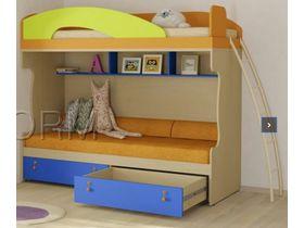 """Детская двухъярусная кровать """"Миа"""" с яркими цветными фасадами (Композиция 3)"""