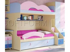 """Детская двухъярусная кровать """"Миа"""" с яркими цветными фасадами (Композиция 4)"""