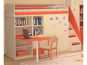 """Детская кровать-чердак с рабочей зоной внизу и шкафом """"Силуэт"""""""