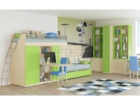 """Детская комната для мальчика с кроватью-чердаком в яркой цветовой гамме """"Силуэт"""""""