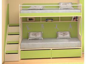 """Детская двухъярусная кровать в зеленом цвете """"Силуэт"""""""