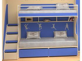 """Детская двухъярусная кровать в синем цвете """"Силуэт"""""""