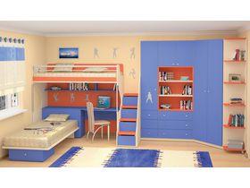 """Компактная мебель для детской комнаты в синем цвете """"Силуэт"""" для двоих детей (Комбинация 2)"""