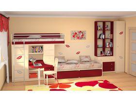 """Компактная мебель для детской комнаты """"Силуэт"""" для двоих детей (Комбинация 1)"""
