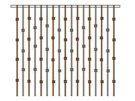 Штора-стенка веревочная на торцевую сторону кровати